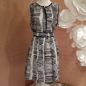 Trina Turk Navy Blue and white dress